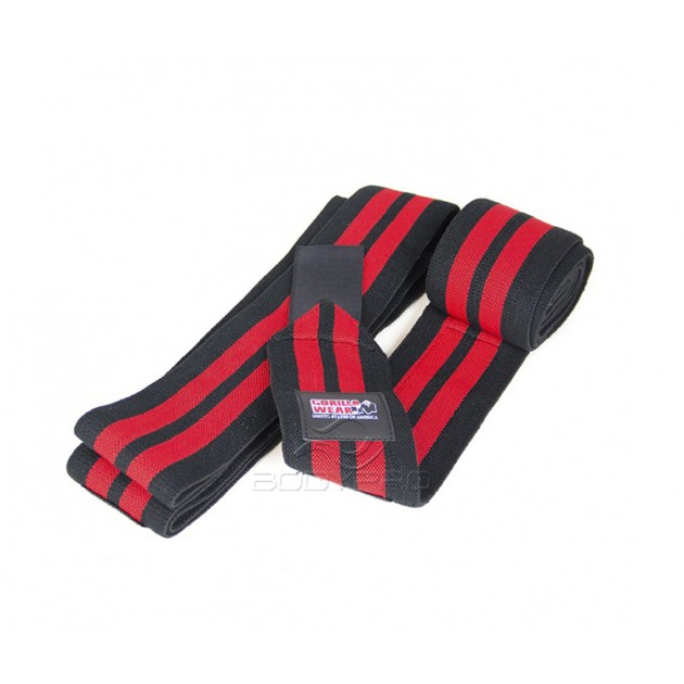 Gorilla Wear Knee Wraps 98 Inch Black/Red