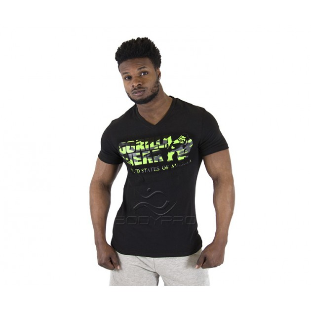 Gorilla Wear Футболка Sacramento V-Neck T-Shirt Black/Lime Neon