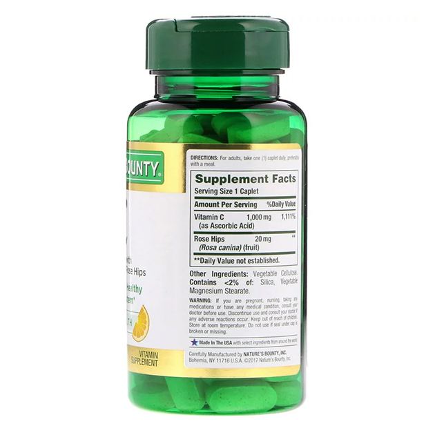 Витамины Nature's Bounty C 1000 mg + Rose Hips Шиповник 100 таблеток