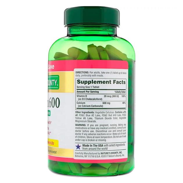 Витамины Nature's Bounty Calcium 600 mg 250 таблеток