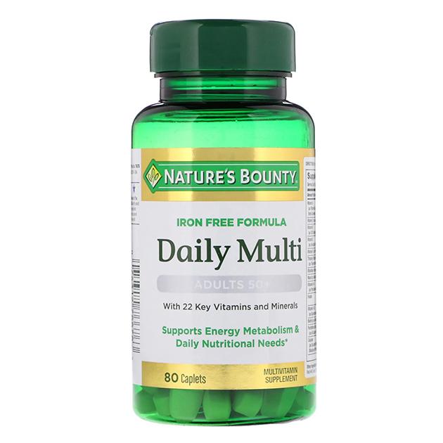 Витамины Nature's Bounty Daily Multi Iron Free 80 каплет