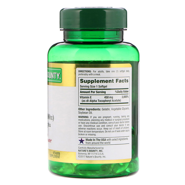 Витамины Nature's Bounty E 450 mg 60 софтгель