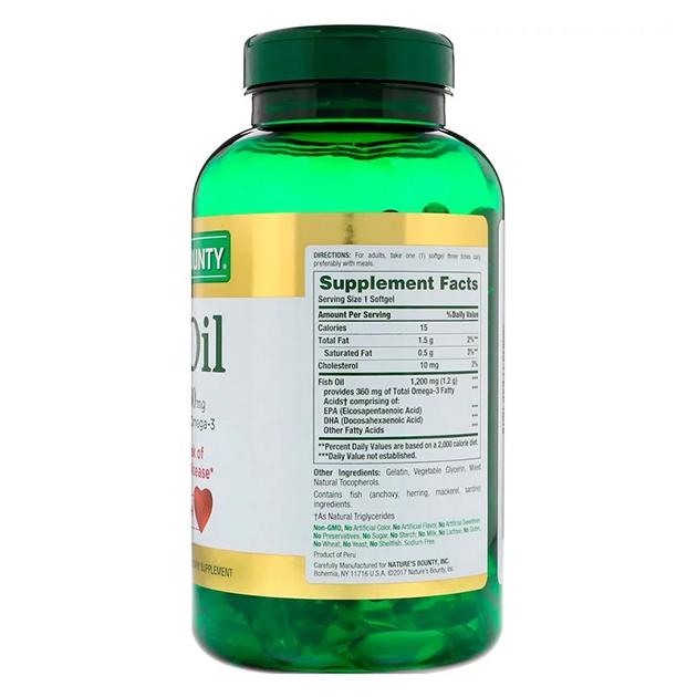Жирные кислоты Nature's Bounty Fish Oill 1200 mg 200 софтгель