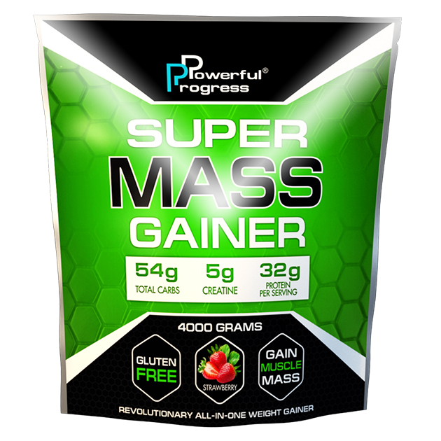 Гейнер Powerful Progress Super Mass Gainer 4 кг. Клубника