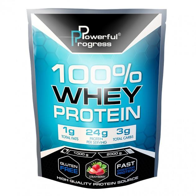 Протеин Powerful Progress 100% Whey protein 1 кг Клубника