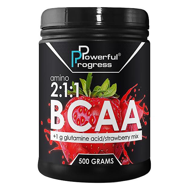 Аминокислота Powerful Progress BCAA 2:1:1 500 грамм Клубника
