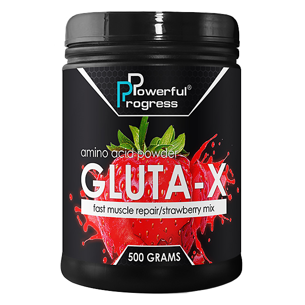 Глютамин Powerful Progress L-Glutamine 500 грамм Клубника