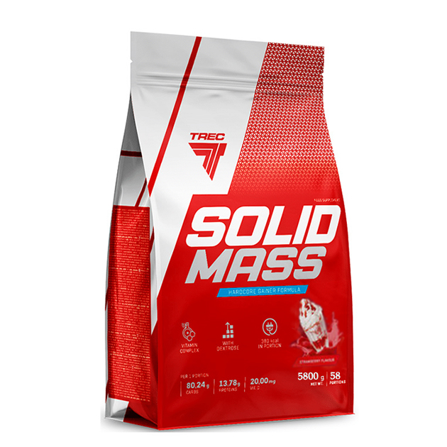 Гейнер Trec Nutrition Solid Mass 5800 г Клубника