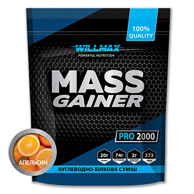 Гейнер Willmax Mass Gainer Pro 2000 г Апельсин