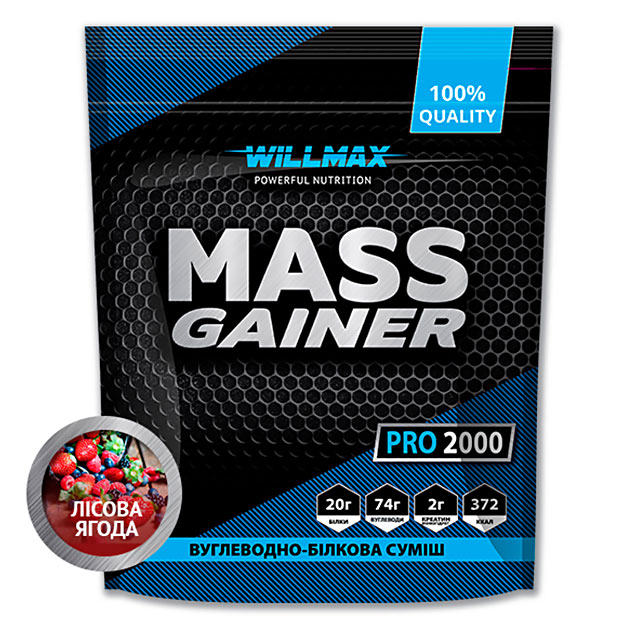 Гейнер Willmax Mass Gainer Pro 2000 г Лесная Ягода